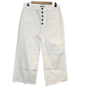 Express wide leg high rise jeans in white